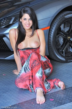 Busty Teen Lily Posing By My Lambo - pics 07