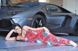 Busty Teen Lily Posing By My Lambo - pics 08