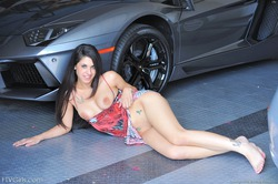 Busty Teen Lily Posing By My Lambo - pics 10