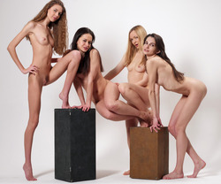 Four Slim Babes Naked Formation - pics 08