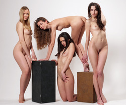 Four Slim Babes Naked Formation - pics 09