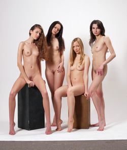 Four Slim Babes Naked Formation - pics 10