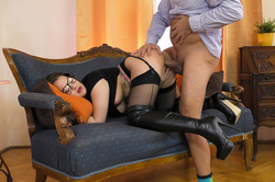 Nerdy Babe Fucking in Long Boots - pics 11
