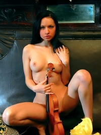 Dark Haired Teen with a Violin