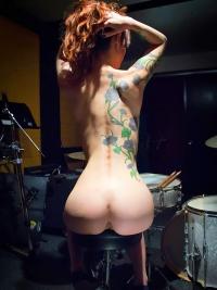 Busty Redhead Sexy Drummer