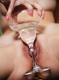 Curly Blonde Babe Loves Martini