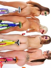 Four lesbian Babes on Fixie Bikes