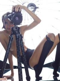 Oiled Slim Babe Photographer