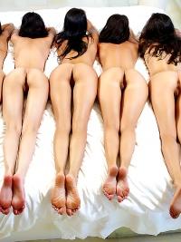 Five Beautiful Brunette Lesbians
