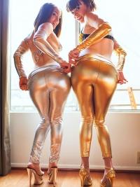 Horny Lesbians Shiny Spandex