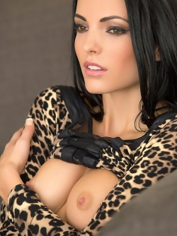 Pretty Face Playboy Bunny Sapphira Posing in her Leopard Dress