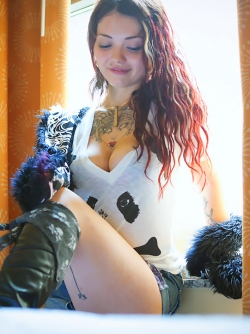 The cutest tattooed Doll Soya in Sexy Boots for Suicide Girls