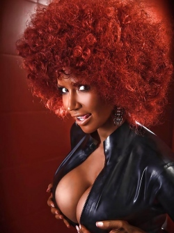 Bianca Beauchamp as an Afro Babe Posing in Shiny Black Latex