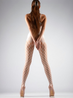 Sexy Long Legged Beauty Aleksei in White Body Stocking