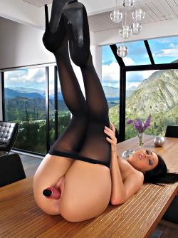 Hot Pornstar Sabrina Banks High Heels and Black Pantyhose