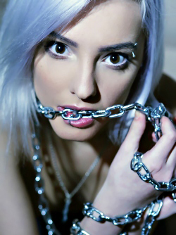 Platinum Haired Babe Kira W in Black Satin Nighty and Chains