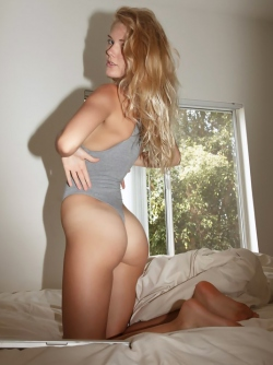 Really Hot Blonde Babe Nola Teasing us in Sexy Grey Swimsuit