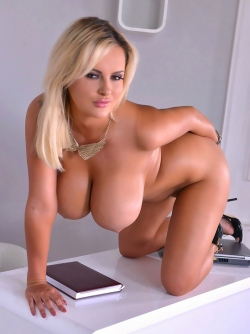 Huge Boobed Blonde Angel Katie Thornton Morning at the Office