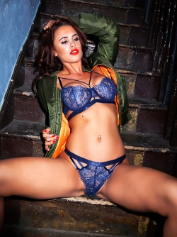 Gorgeous Bomber Lara Rose Posing in her Sexy Blue Lace Lingerie