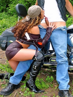 Horny Biker Girl Anabella Getting Wild by a Big Facial Cumshot