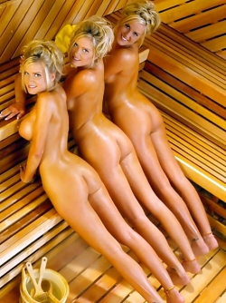 Three Gorgeous Blonde Playmates Having Some Fun in the Sauna