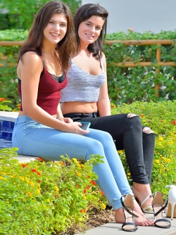 Fucking Gorgeous Jeans Babes Fiona and Brook Stripping in Public