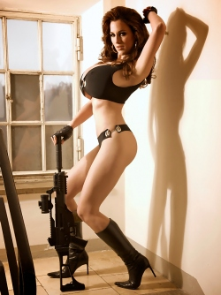 Brunette Goddes Jordan Carver Babe with a Gun is The Sheriff