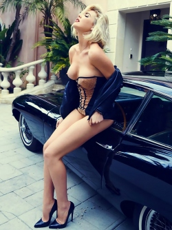 Platinum Blonde Playmate Kayslee Collins by my E-type Jaguar