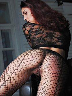 Busty Callista in Lace and Fishnet