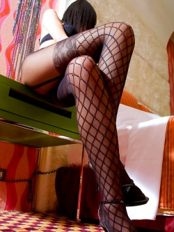 Leggy Asian in Designed Pantyhose