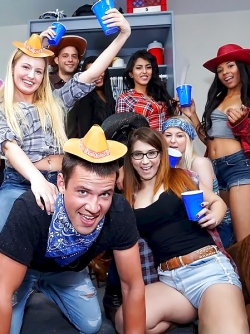 Anastasia Rose and her Friends Having a Dorm Gangbang Party