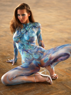 Busty Lizzie Ryan in Body Paint