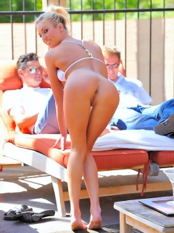 Victoria in Poolside Views - Yummy Blonde Posing in Tiny Bikini