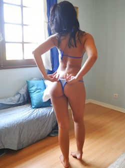 Dark Haired Latina Bombshell Anita Posing in Tiny Blue Bikini