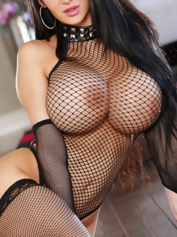 Mighty Boobed Pornstar Amy Andersen in Black Fishnet Set