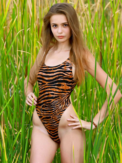 MPL Studios Presents a Cute teen Babe Elle in Sexy Tiger Swimsuit
