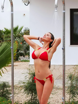 Big Titted Milf Chloe Sims in Tiny Red Bikini Showering by the Pool