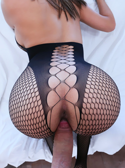 Slutty Brazilian Babe Aaliyah Hadid Fucking in Sexy Fishnet Outfit
