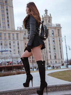 Jeny Smith in long Boots and Mini skirt with no Panties in Public
