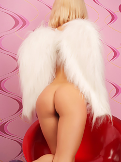 Small Titted Blonde Angel with Fluffy White Wings - Yummy Pussy