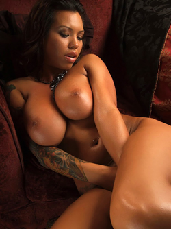 Busty Ebony Bombshell Michelle Pleasing Herself on the Floor