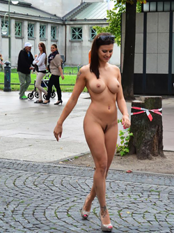Hot Bombshell Billy Walking Around Berlin, Germany Completely Nude