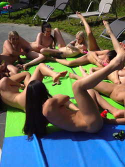 Poolside Party with Eight Really Horny and Sexy Lesbian Babes