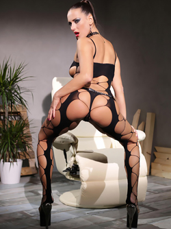 Pornstar Mea Melone Ready to Fuck in Body Stockings and High Heels