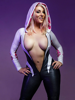 Big Titted Blonde Pornstar Victoria Summers in Spider Gwen Cosplay