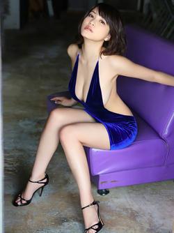 Asuka Kishi via AllGravure - Busty Japanese Girl in Blue Satin Dress
