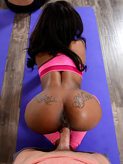 Yoga Freaks - Sexy Ebony gets Banged hard by 2 Dicks in the Gym