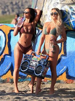 Busty Bikini Babes Jamie Leigh and Kinsey Wolanski with a Boombox