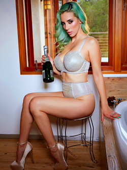 Busty Champagne Lover Jelena Jensen - Green Haired Pornstar