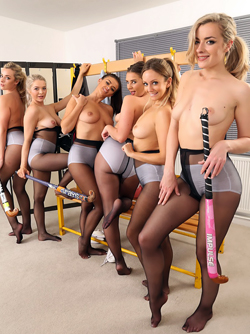 Grace Fae and her five Sexy friends in Black Nylons and White Pants